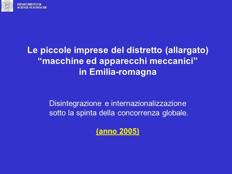 Le piccole imprese del distretto (allargato)macchine ed apparecchi meccanici in Emilia-romagna Disintegrazione e internazionalizzazione sotto la spinta della concorrenza globale.