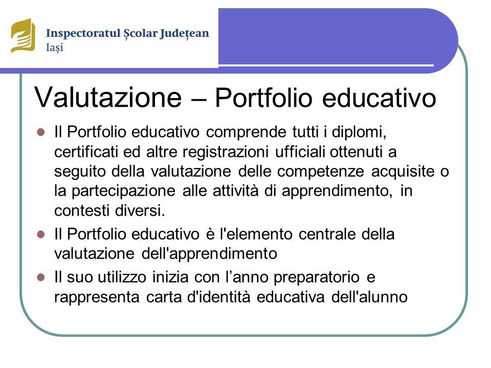 Valutazione – Portfolio educativo Il Portfolio educativo comprende tutti i diplomi, certificati ed altre registrazioni ufficiali ottenuti a seguito della valutazione delle competenze acquisite o la partecipazione alle attività di apprendimento, in contesti diversi.