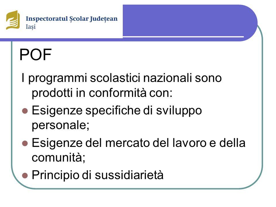 POF I programmi scolastici nazionali sono prodotti in conformità con: Esigenze specifiche di sviluppo personale; Esigenze del mercato del lavoro e della comunità; Principio di sussidiarietà