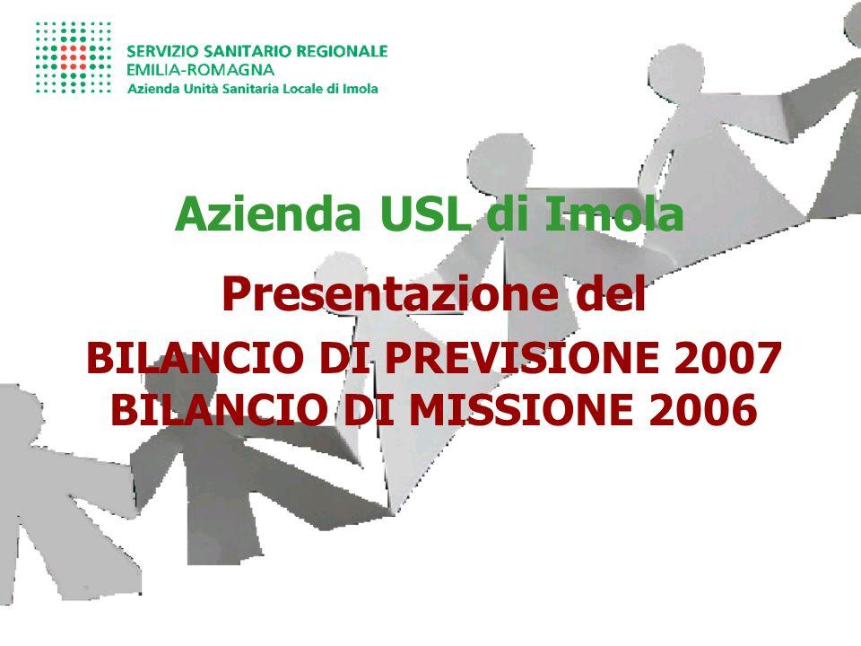Azienda USL di Imola Presentazione del BILANCIO DI PREVISIONE 2007 BILANCIO DI MISSIONE 2006
