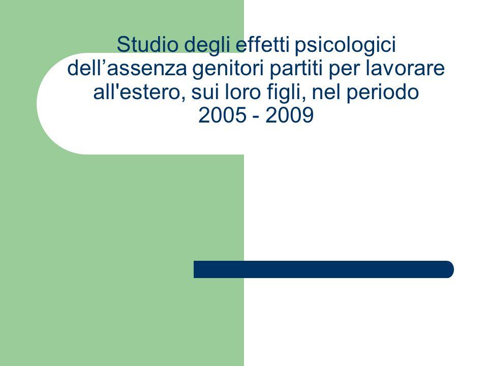 Studio degli effetti psicologici dellassenza genitori partiti per lavorare all estero, sui loro figli, nel periodo 2005 - 2009