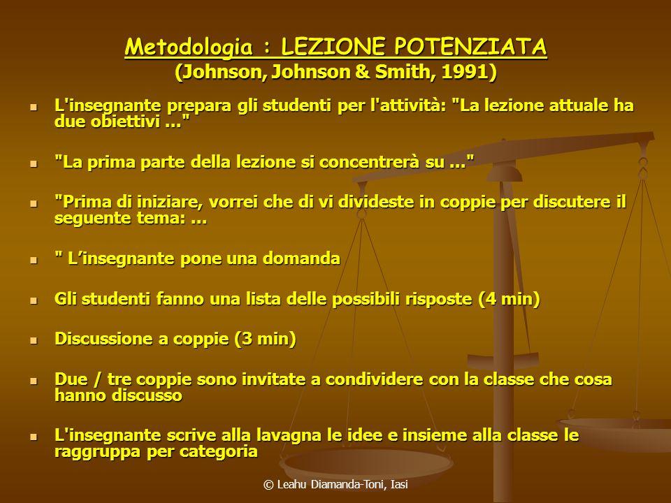© Leahu Diamanda-Toni, Iasi Metodologia : LEZIONE POTENZIATA (Johnson, Johnson & Smith, 1991) L'insegnante prepara gli studenti per l'attività: