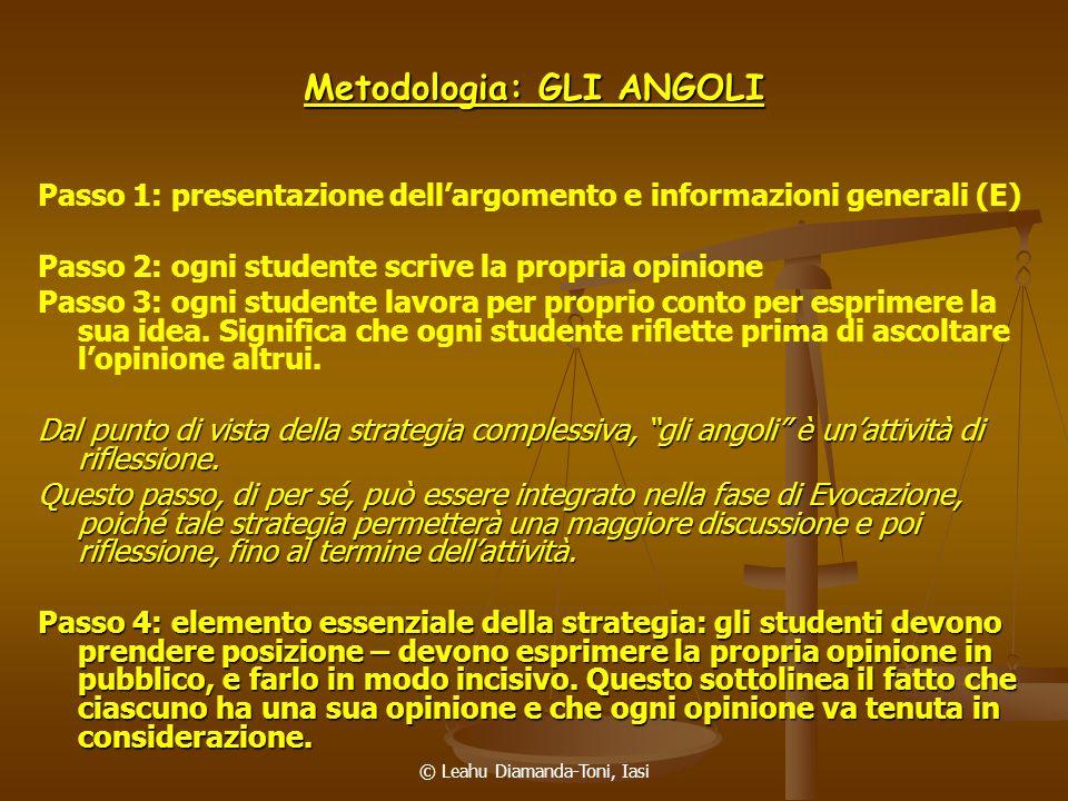 © Leahu Diamanda-Toni, Iasi Metodologia: GLI ANGOLI Passo 1: presentazione dellargomento e informazioni generali (E) Passo 2: ogni studente scrive la