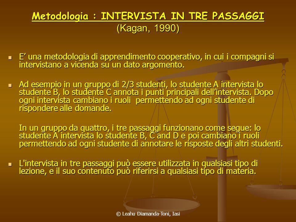 © Leahu Diamanda-Toni, Iasi Metodologia : INTERVISTA IN TRE PASSAGGI (Kagan, 1990) E una metodologia di apprendimento cooperativo, in cui i compagni s