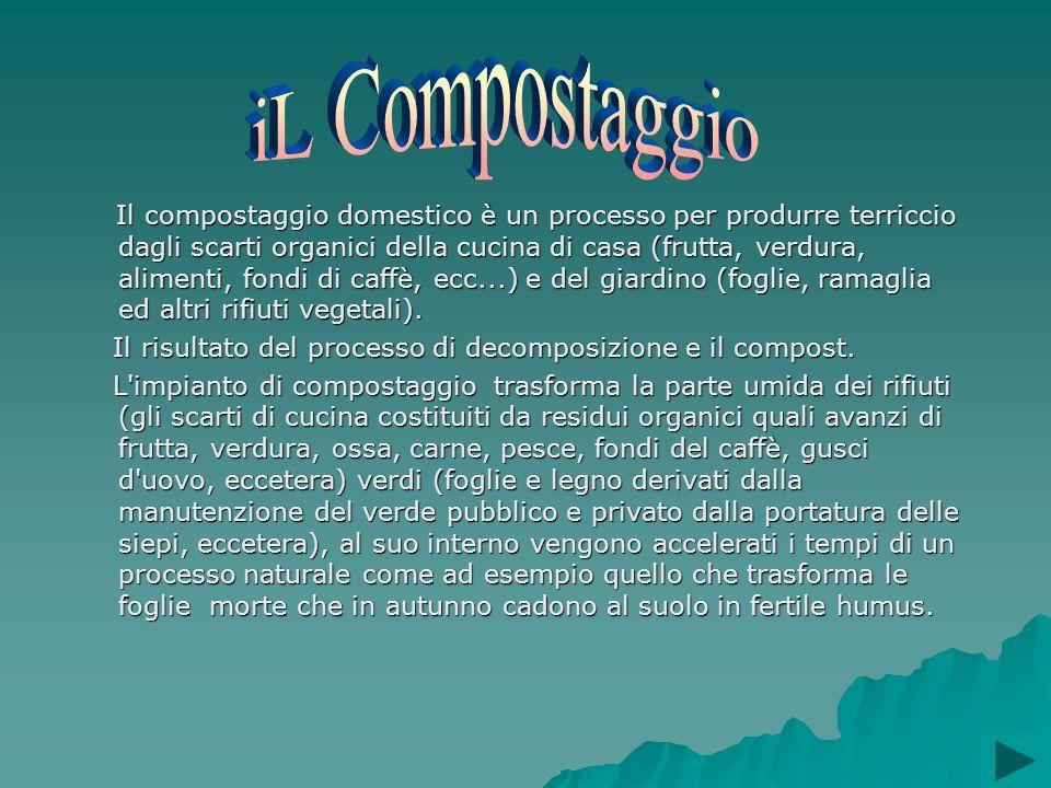 Il compostaggio domestico è un processo per produrre terriccio dagli scarti organici della cucina di casa (frutta, verdura, alimenti, fondi di caffè,