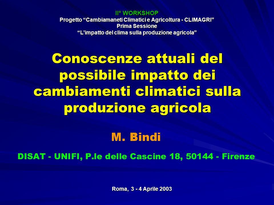 Conoscenze attuali del possibile impatto dei cambiamenti climatici sulla produzione agricola Roma, 3 - 4 Aprile 2003 II° WORKSHOP Progetto Cambiamanet