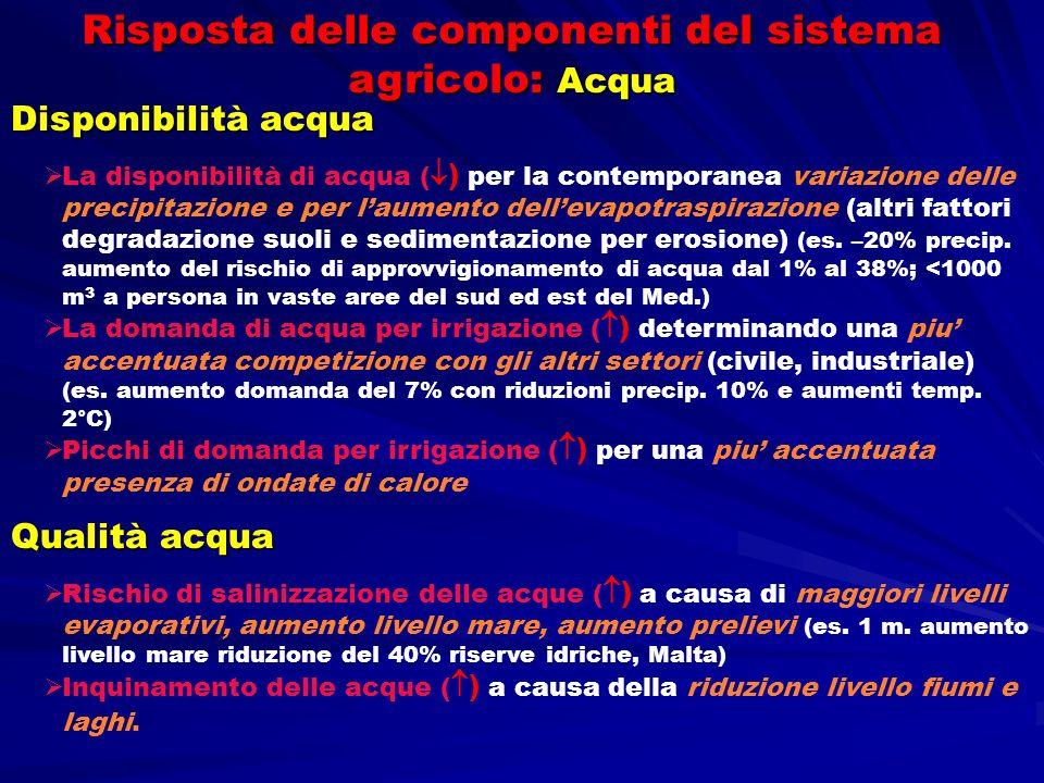 Risposta delle componenti del sistema agricolo: Acqua Disponibilità acqua La disponibilità di acqua ( ) per la contemporanea variazione delle precipit