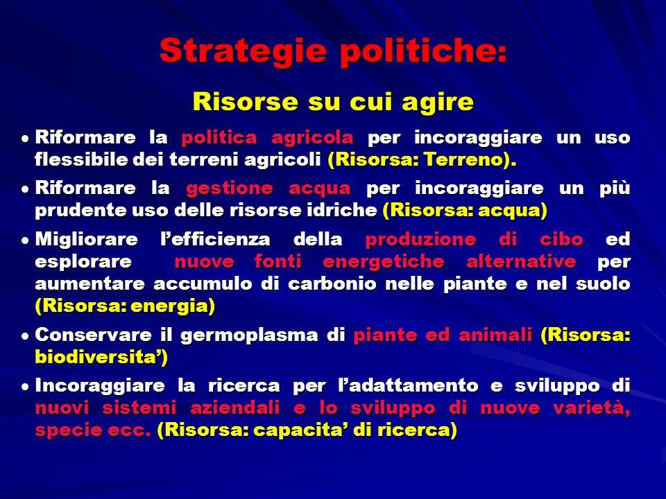 Strategie politiche : Risorse su cui agire Riformare la politica agricola per incoraggiare un uso flessibile dei terreni agricoli (Risorsa: Terreno).