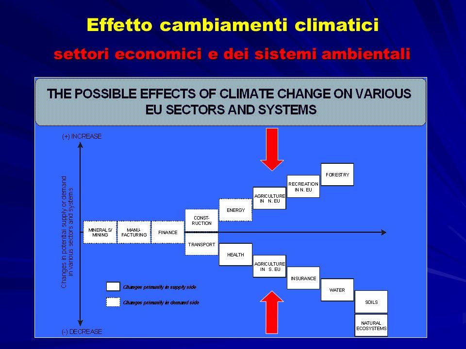 settori economici e dei sistemi ambientali Effetto cambiamenti climatici