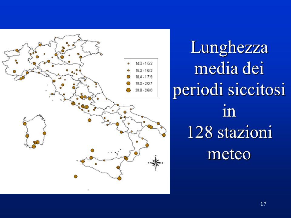 17 Lunghezza media dei periodi siccitosi in 128 stazioni meteo