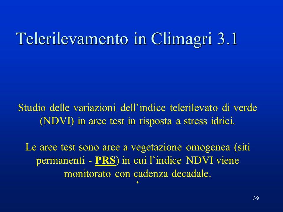 39 Telerilevamento in Climagri 3.1 Studio delle variazioni dellindice telerilevato di verde (NDVI) in aree test in risposta a stress idrici.