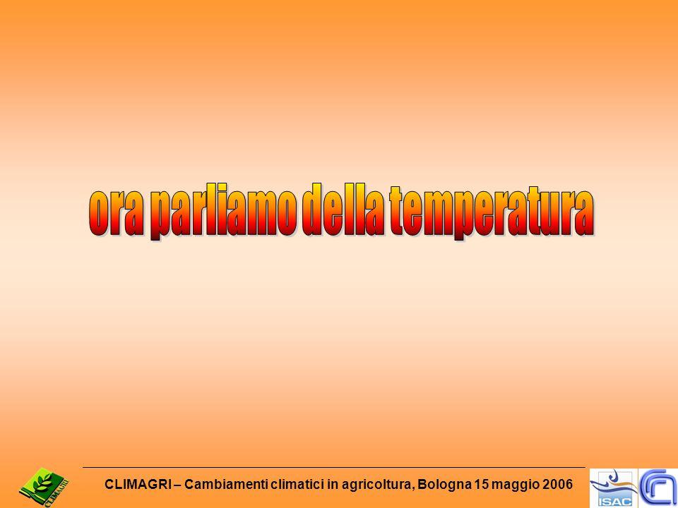 CLIMAGRI – Cambiamenti climatici in agricoltura, Bologna 15 maggio 2006