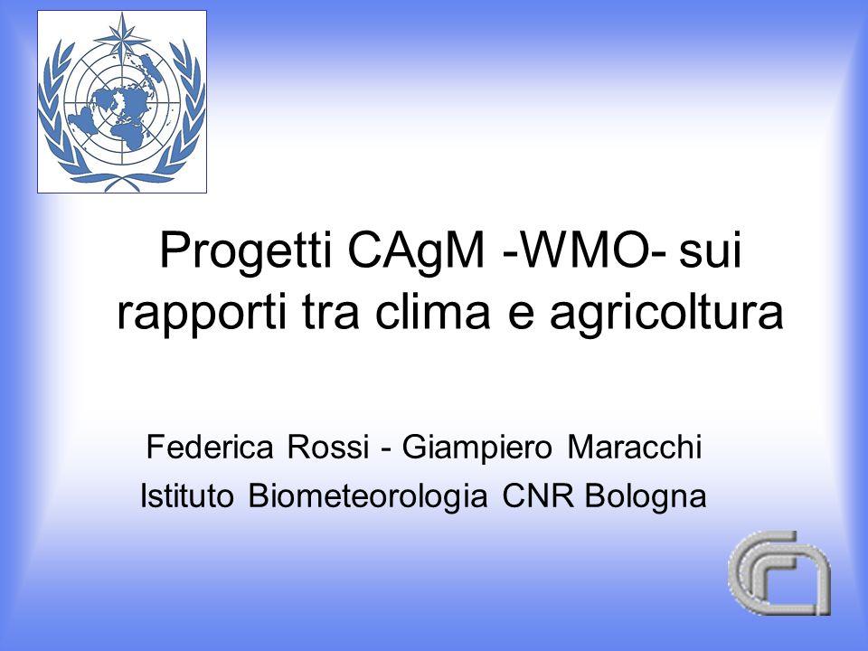 Progetti CAgM -WMO- sui rapporti tra clima e agricoltura Federica Rossi - Giampiero Maracchi Istituto Biometeorologia CNR Bologna