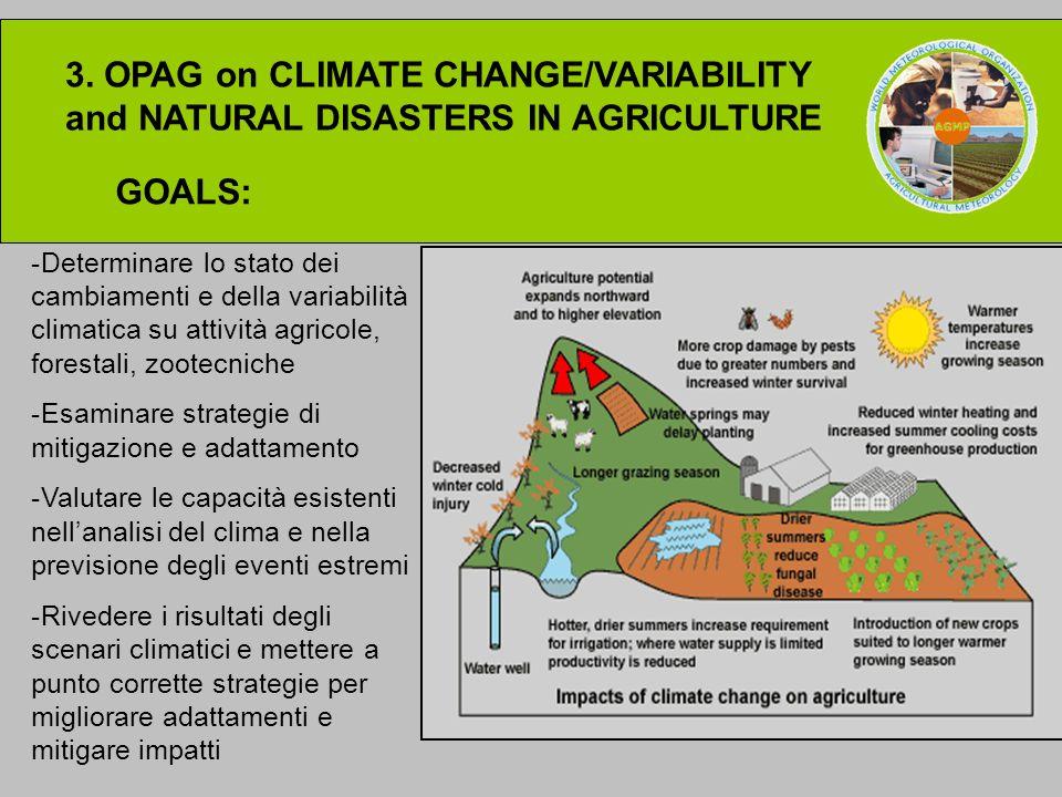 3. OPAG on CLIMATE CHANGE/VARIABILITY and NATURAL DISASTERS IN AGRICULTURE GOALS: -Determinare lo stato dei cambiamenti e della variabilità climatica