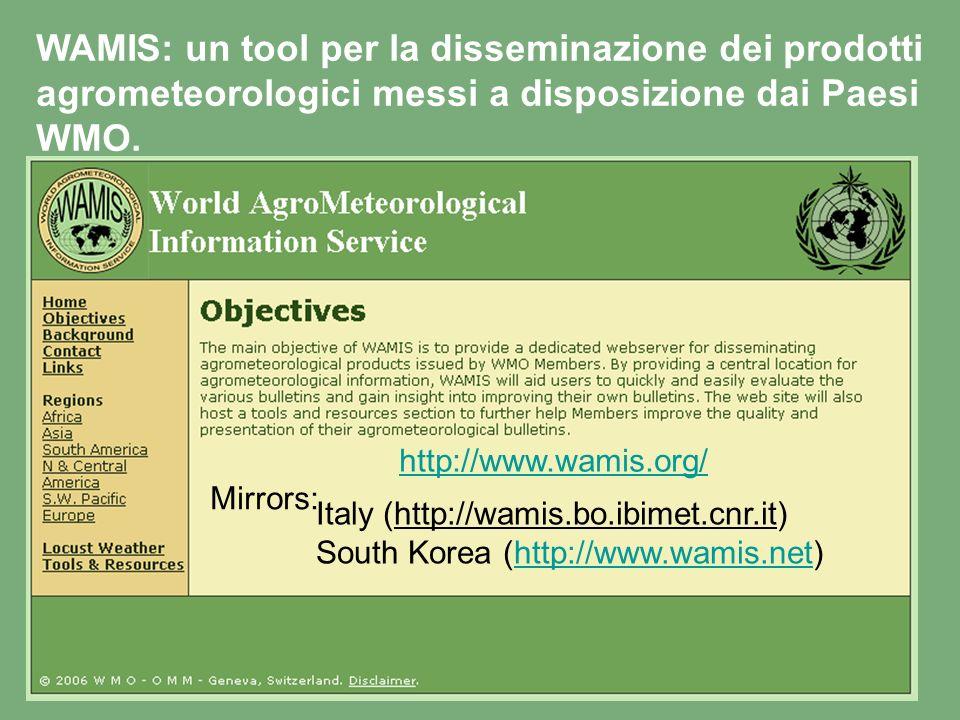 WAMIS: un tool per la disseminazione dei prodotti agrometeorologici messi a disposizione dai Paesi WMO.