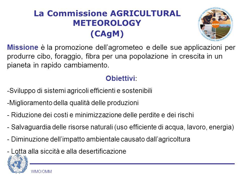 WMO/OMM Missione è la promozione dellagrometeo e delle sue applicazioni per produrre cibo, foraggio, fibra per una popolazione in crescita in un pianeta in rapido cambiamento.