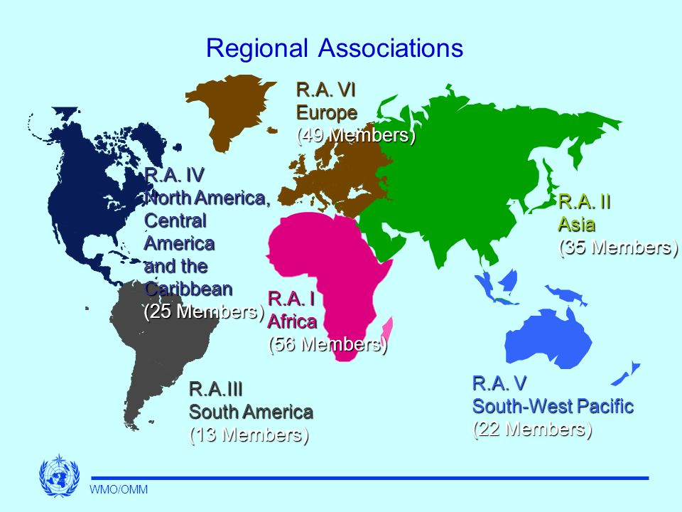 Regional Associations R.A. I Africa (56 Members) R.A.III South America (13 Members) R.A.