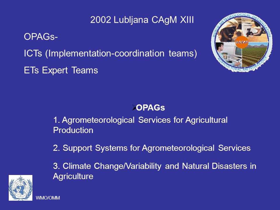 WMO/OMM OPAGs 1. Agrometeorological Services for Agricultural Production 2.