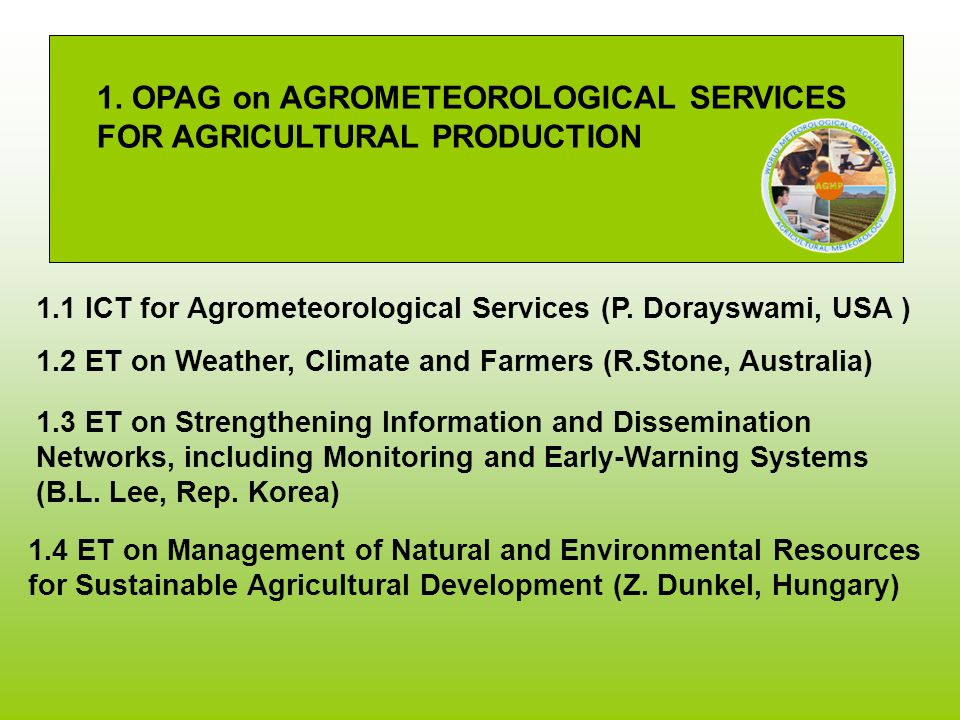 1. OPAG on AGROMETEOROLOGICAL SERVICES FOR AGRICULTURAL PRODUCTION 1.2 ET on Weather, Climate and Farmers (R.Stone, Australia) 1.1 ICT for Agrometeoro