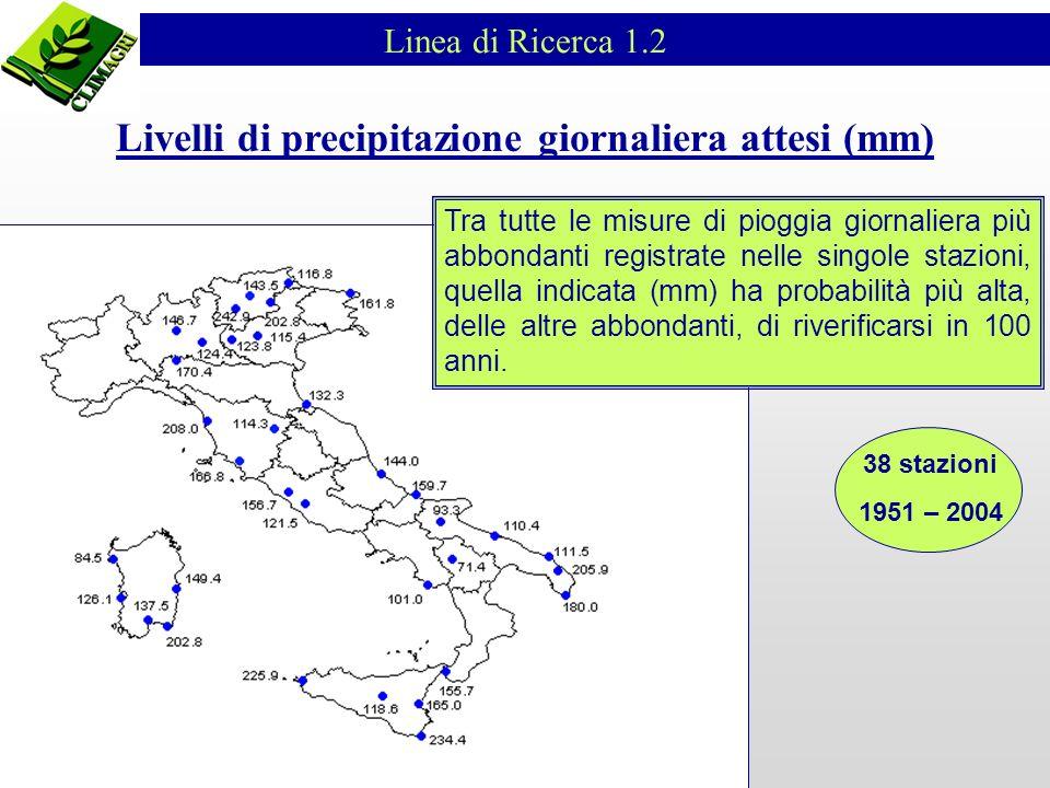 Tra tutte le misure di pioggia giornaliera più abbondanti registrate nelle singole stazioni, quella indicata (mm) ha probabilità più alta, delle altre abbondanti, di riverificarsi in 100 anni.