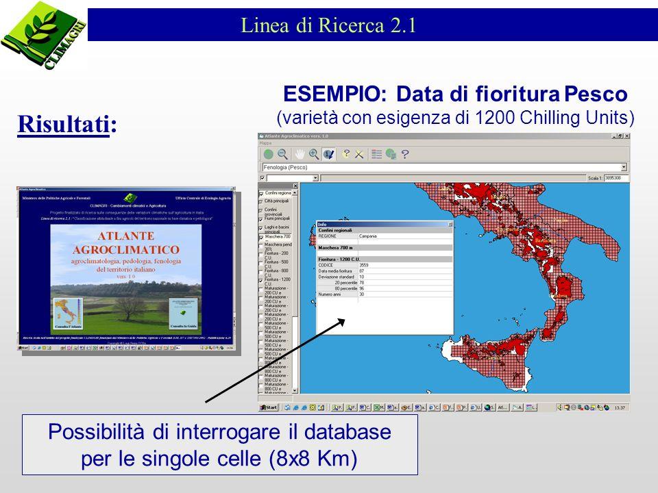Linea di Ricerca 2.1 ESEMPIO: Data di fioritura Pesco (varietà con esigenza di 1200 Chilling Units) Possibilità di interrogare il database per le singole celle (8x8 Km) Risultati: