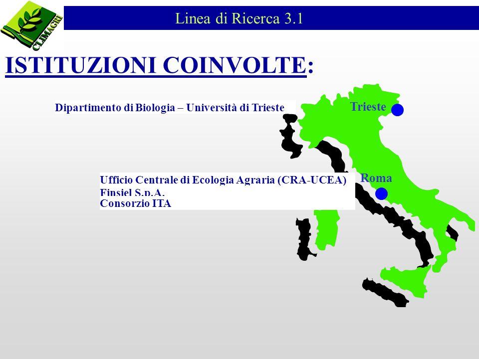 Linea di Ricerca 3.1 ISTITUZIONI COINVOLTE: Ufficio Centrale di Ecologia Agraria (CRA-UCEA) Roma Trieste Finsiel S.p.A. Consorzio ITA Dipartimento di