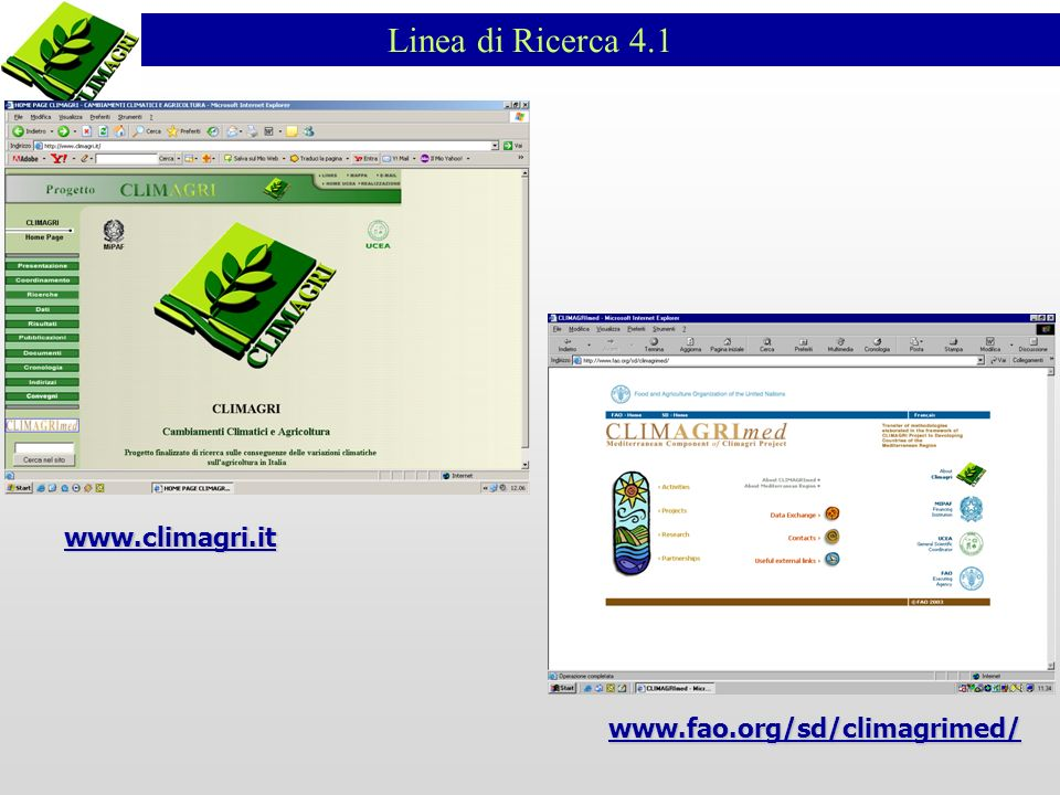 Linea di Ricerca 4.1 www.climagri.it www.fao.org/sd/climagrimed/
