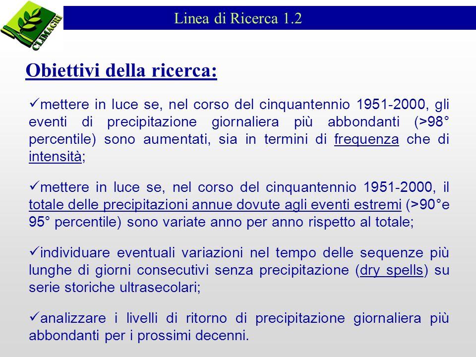 Linea di Ricerca 1.2 mettere in luce se, nel corso del cinquantennio 1951-2000, gli eventi di precipitazione giornaliera più abbondanti (>98° percenti
