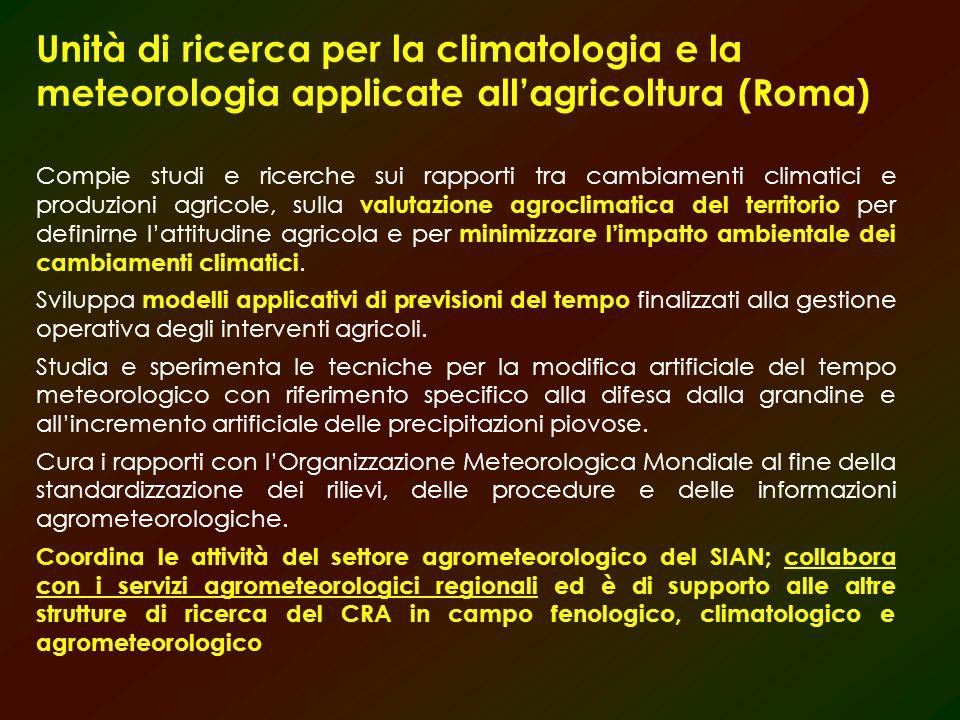 Unità di ricerca per la climatologia e la meteorologia applicate allagricoltura (Roma) Compie studi e ricerche sui rapporti tra cambiamenti climatici e produzioni agricole, sulla valutazione agroclimatica del territorio per definirne lattitudine agricola e per minimizzare limpatto ambientale dei cambiamenti climatici.