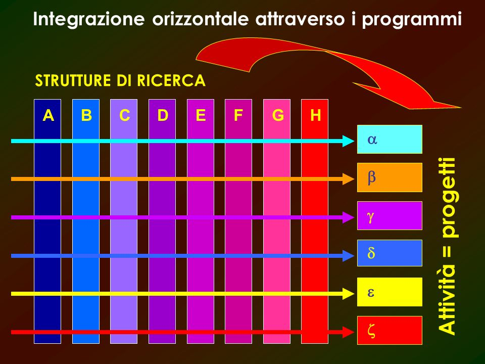 ABCDEFGH STRUTTURE DI RICERCA Attività = progetti Integrazione orizzontale attraverso i programmi