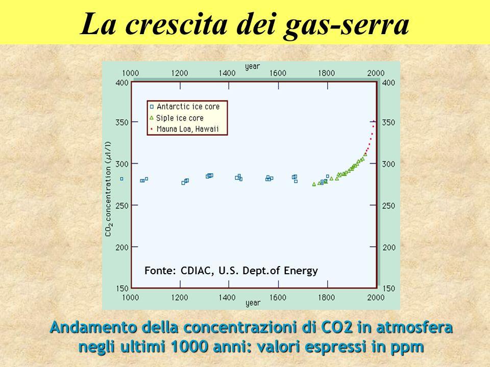 Andamento della concentrazioni di CO2 in atmosfera negli ultimi 1000 anni: valori espressi in ppm Fonte: CDIAC, U.S. Dept.of Energy La crescita dei ga