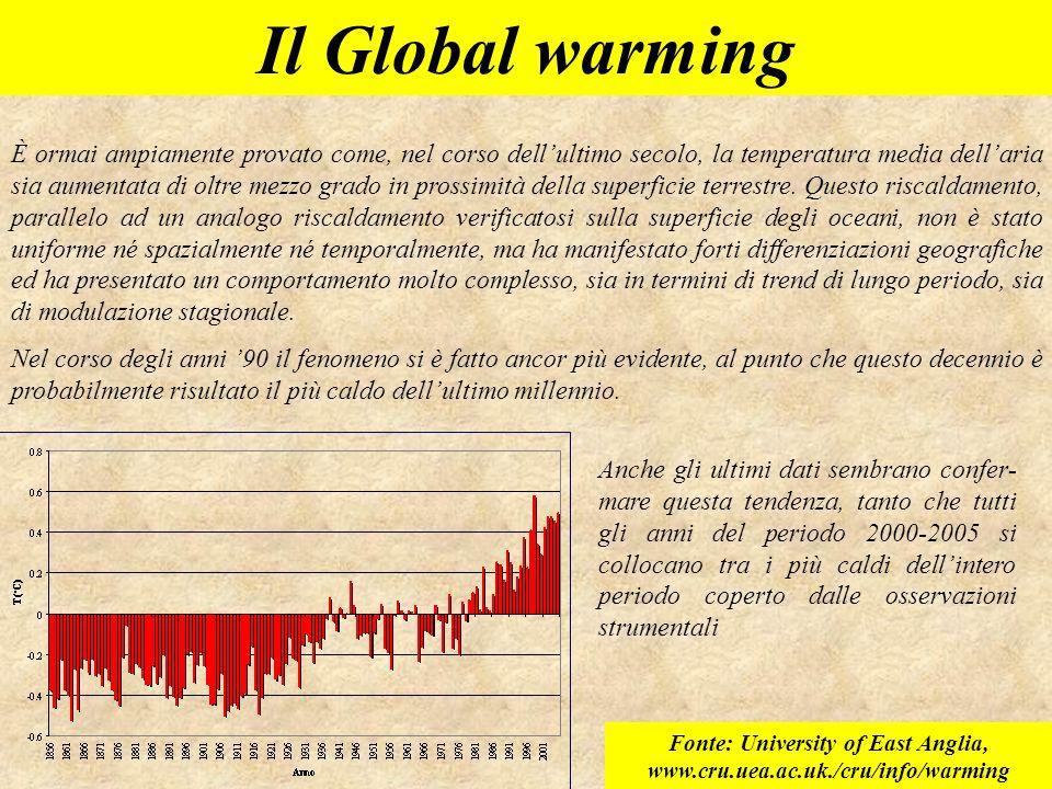 Il Global warming È ormai ampiamente provato come, nel corso dellultimo secolo, la temperatura media dellaria sia aumentata di oltre mezzo grado in pr