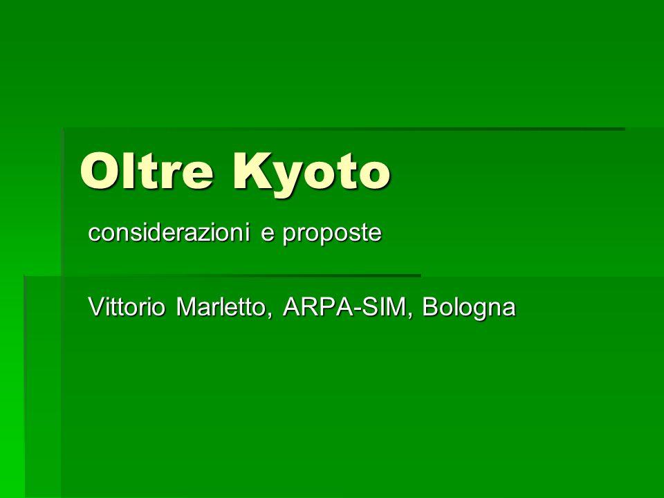 Oltre Kyoto considerazioni e proposte Vittorio Marletto, ARPA-SIM, Bologna