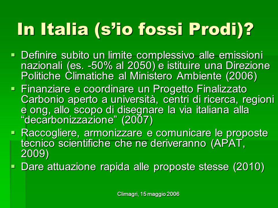 Climagri, 15 maggio 2006 In Italia (sio fossi Prodi)? Definire subito un limite complessivo alle emissioni nazionali (es. -50% al 2050) e istituire un