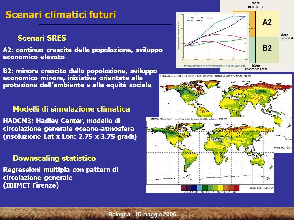 Bologna - 15 maggio 2006 Scenari climatici futuri Scenari SRES A2: continua crescita della popolazione, sviluppo economico elevato B2: minore crescita