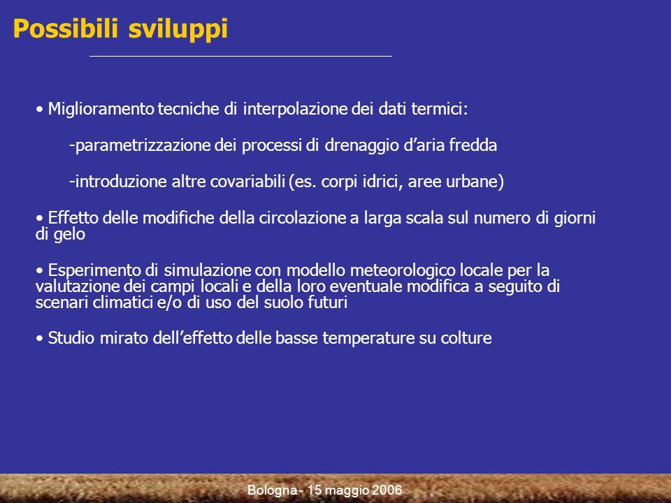 Bologna - 15 maggio 2006 Possibili sviluppi Miglioramento tecniche di interpolazione dei dati termici: -parametrizzazione dei processi di drenaggio da