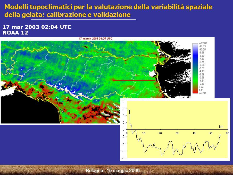 Bologna - 15 maggio 2006 Modelli topoclimatici per la valutazione della variabilità spaziale della gelata: calibrazione e validazione 17 mar 2003 02:04 UTC NOAA 12