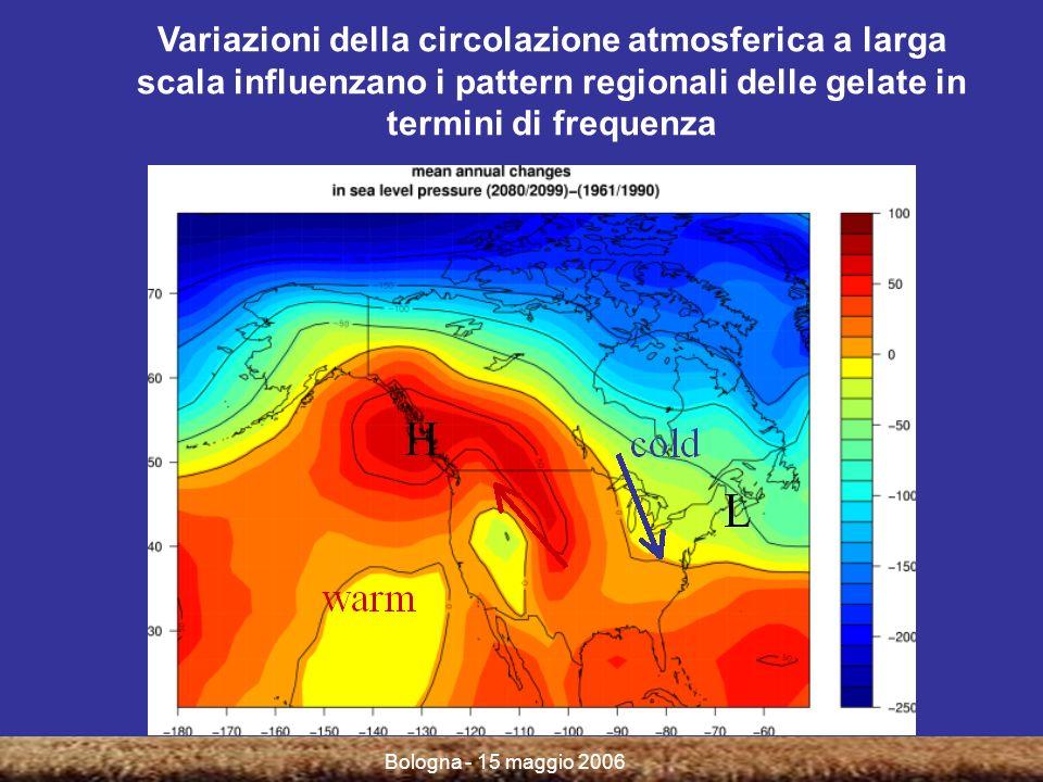 Bologna - 15 maggio 2006 Variazioni della circolazione atmosferica a larga scala influenzano i pattern regionali delle gelate in termini di frequenza