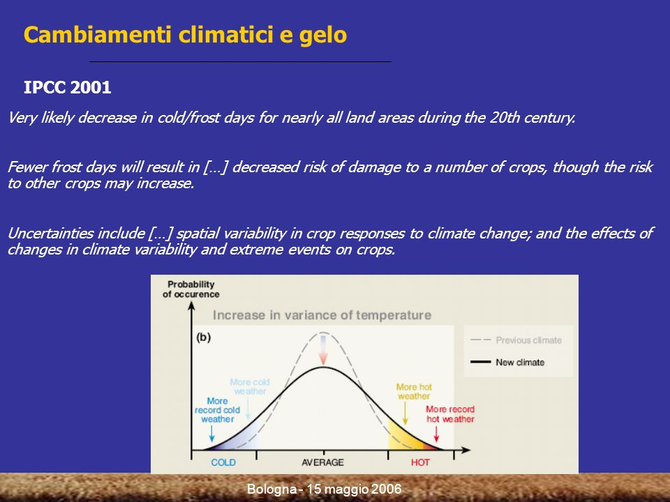 Bologna - 15 maggio 2006 Very likely decrease in cold/frost days for nearly all land areas during the 20th century.