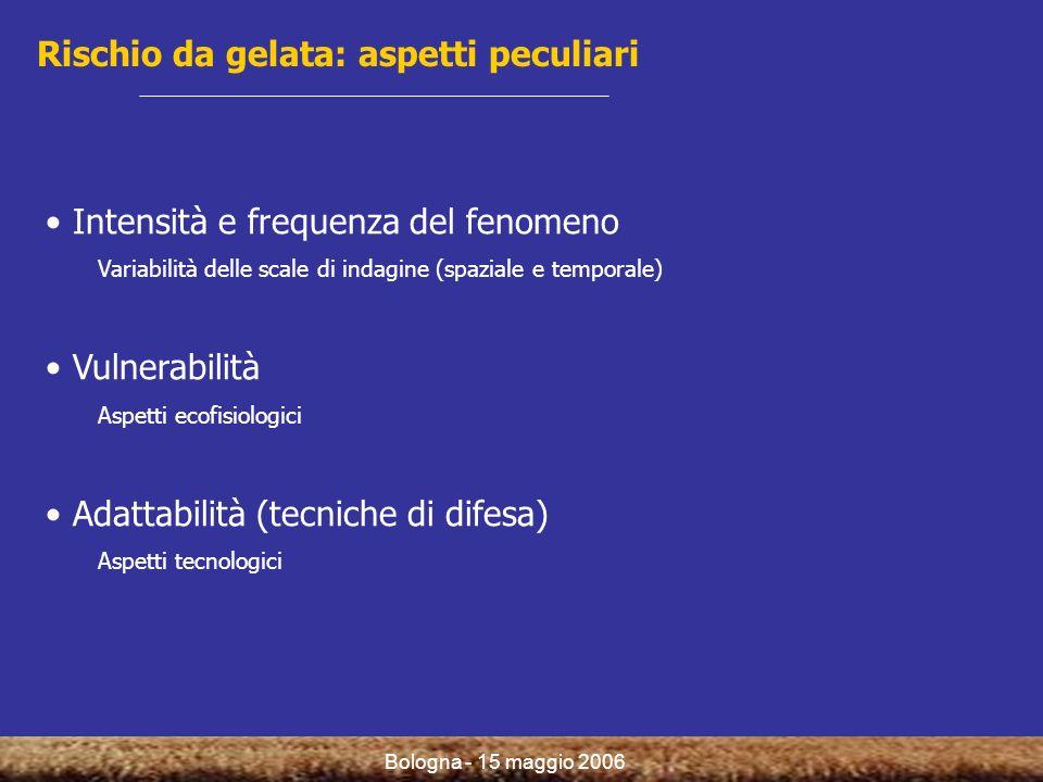 Bologna - 15 maggio 2006 Rischio da gelata: aspetti peculiari Intensità e frequenza del fenomeno Variabilità delle scale di indagine (spaziale e temporale) Vulnerabilità Aspetti ecofisiologici Adattabilità (tecniche di difesa) Aspetti tecnologici