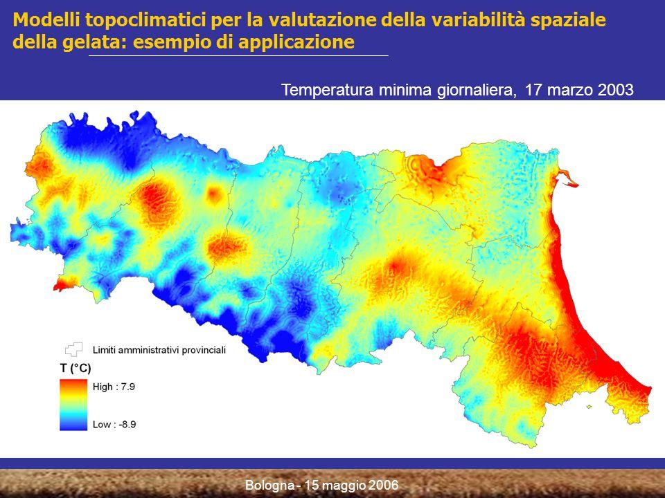 Bologna - 15 maggio 2006 Valutazione del rischio climatico: indici di danno produttivo Sensibilità dei fruttiferi al gelo Danno massimo Additivo Additivo pesato D i : danno dellevento i DT i : danno totale cumulato allevento i P i : fattore di ritardo