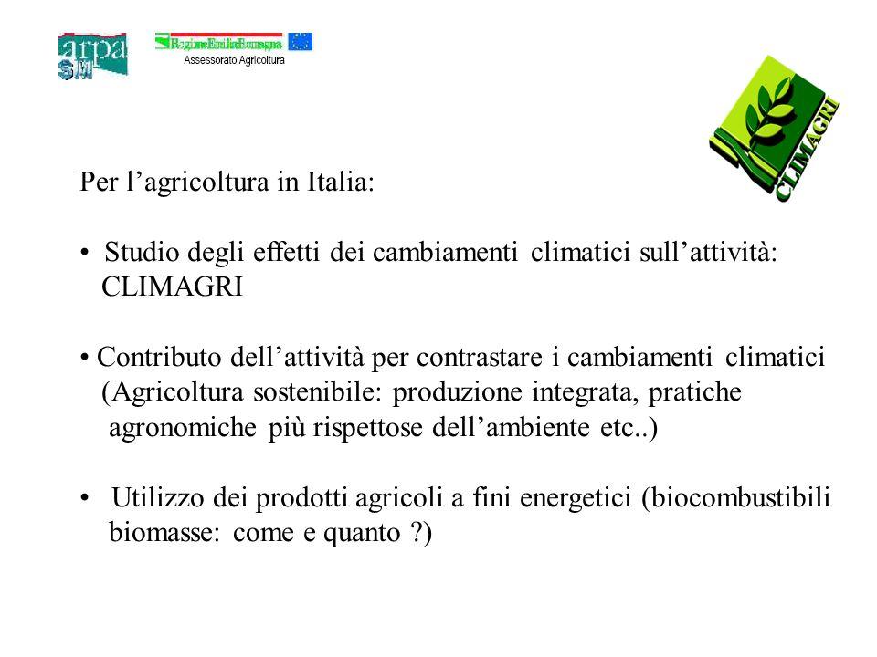 Per lagricoltura in Italia: Studio degli effetti dei cambiamenti climatici sullattività: CLIMAGRI Contributo dellattività per contrastare i cambiamenti climatici (Agricoltura sostenibile: produzione integrata, pratiche agronomiche più rispettose dellambiente etc..) Utilizzo dei prodotti agricoli a fini energetici (biocombustibili biomasse: come e quanto ?)