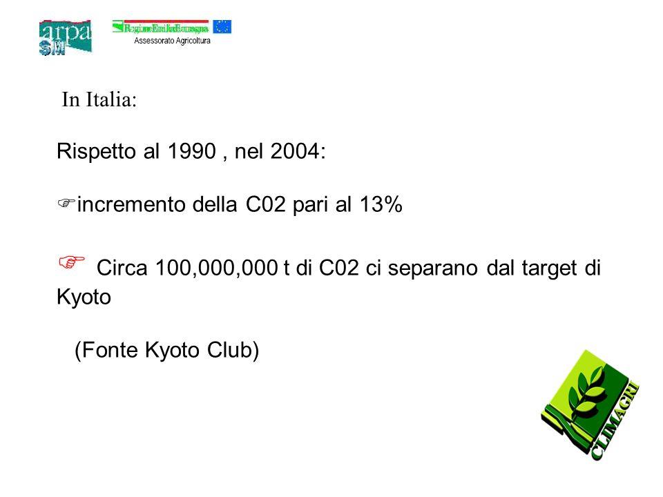 Rispetto al 1990, nel 2004: incremento della C02 pari al 13% Circa 100,000,000 t di C02 ci separano dal target di Kyoto (Fonte Kyoto Club) In Italia: