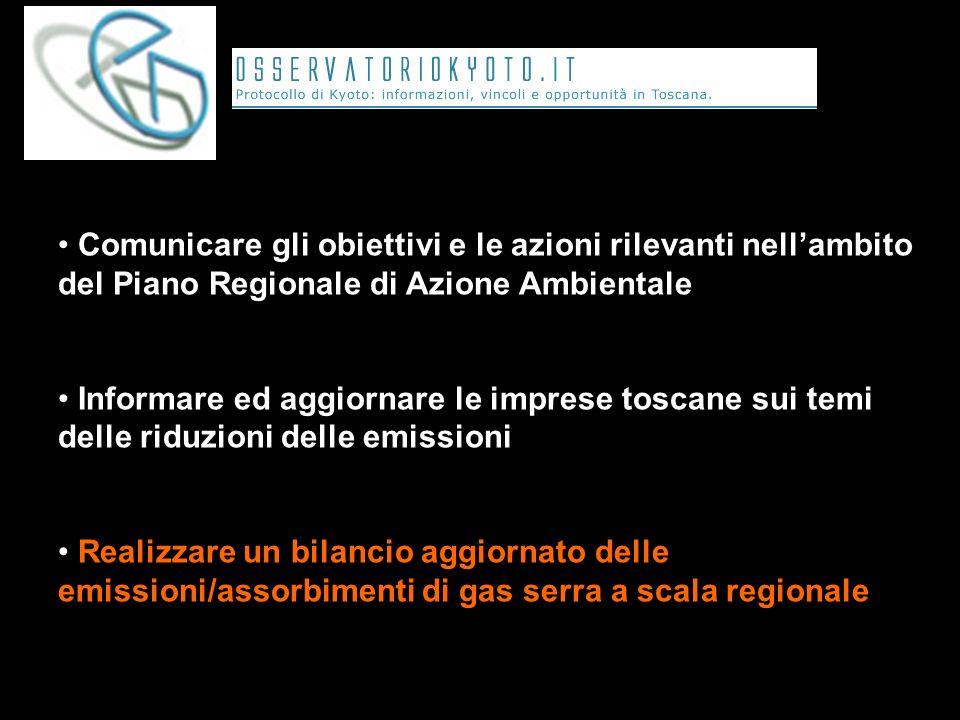 Comunicare gli obiettivi e le azioni rilevanti nellambito del Piano Regionale di Azione Ambientale Informare ed aggiornare le imprese toscane sui temi delle riduzioni delle emissioni Realizzare un bilancio aggiornato delle emissioni/assorbimenti di gas serra a scala regionale