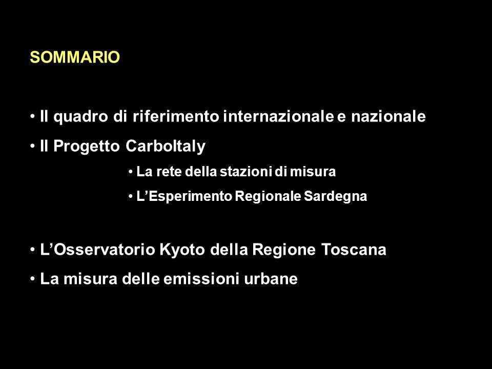 SOMMARIO Il quadro di riferimento internazionale e nazionale Il Progetto CarboItaly La rete della stazioni di misura LEsperimento Regionale Sardegna LOsservatorio Kyoto della Regione Toscana La misura delle emissioni urbane