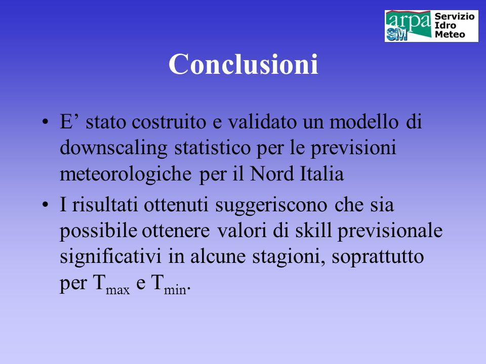 Conclusioni E stato costruito e validato un modello di downscaling statistico per le previsioni meteorologiche per il Nord Italia I risultati ottenuti