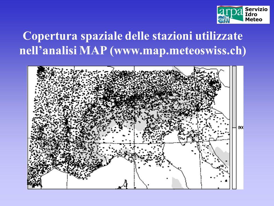 Copertura spaziale delle stazioni utilizzate nellanalisi MAP (www.map.meteoswiss.ch)