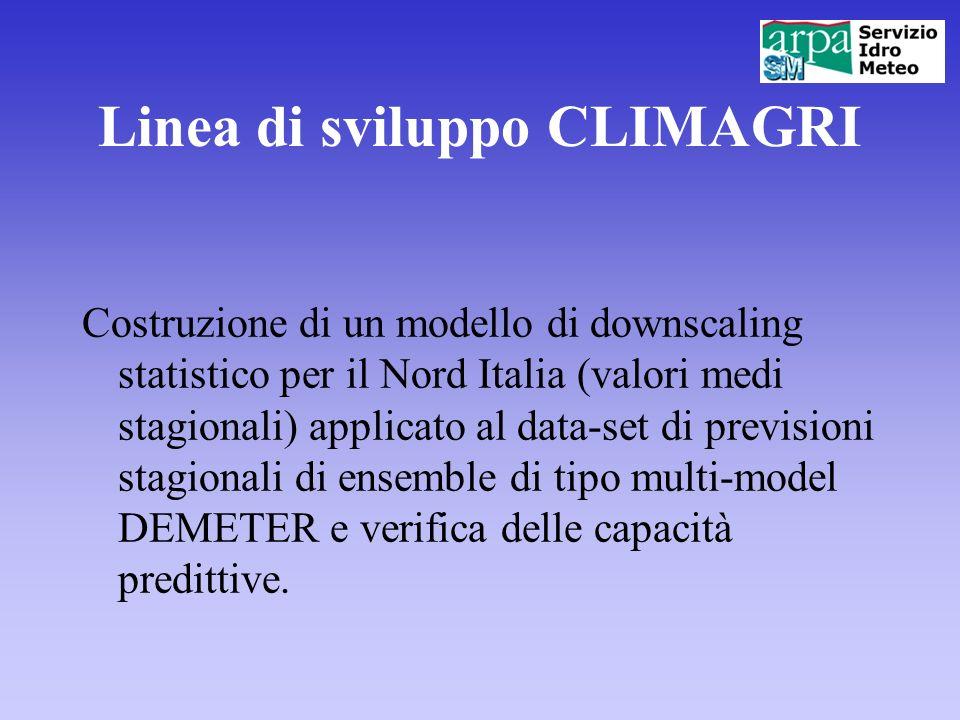 Linea di sviluppo CLIMAGRI Costruzione di un modello di downscaling statistico per il Nord Italia (valori medi stagionali) applicato al data-set di pr