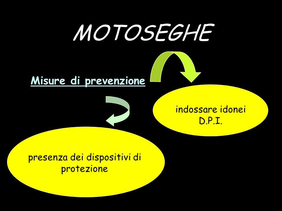 MOTOSEGHE Misure di prevenzione indossare idonei D.P.I. presenza dei dispositivi di protezione