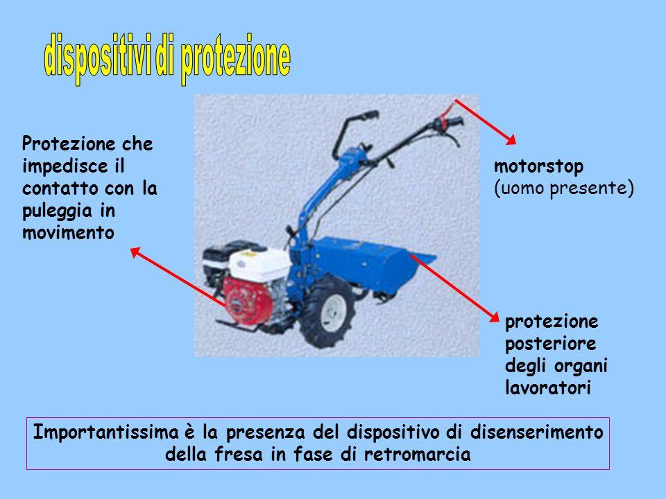 motorstop (uomo presente) protezione posteriore degli organi lavoratori Importantissima è la presenza del dispositivo di disenserimento della fresa in